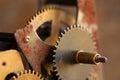 Rusty textured cog gears engineering mechanism macro view. Black metallic wheel close-up photo. Shallow depth field