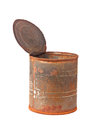 Rusty tin can with top opened isolated on white background Royalty Free Stock Photo