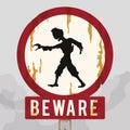 Rusty Warning Zombie Sign, Vector Illustration