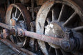 Rusty wheels of old steam locomotive close up Stock Images