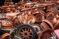Rusty wheels piles of found in car wreckers Royalty Free Stock Image