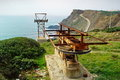 Rusty winch near a cliff Royalty Free Stock Photo