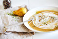 Rutabaga sweet potato soup with pears, cream and maple syrup Royalty Free Stock Photo