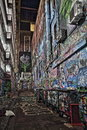 Rutledge lane graffity street melbourne hdr one of the most popular streets in hosier night and style picture victoria Stock Images