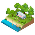 RV camper in camping, family vacation travel, holiday trip in motorhome Flat 3d vector isometric illustration.