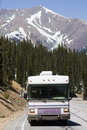 RV driving the mountains Stock Photo