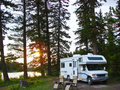 RV in secluded campsite Stock Image