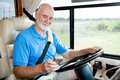 RV Senior - Navigating with GPS Stock Image