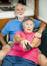 RV Seniors - Shocked by TV Content Royalty Free Stock Photo