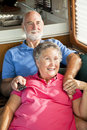 RV Seniors Watching TV Royalty Free Stock Photo