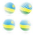Rwanda halftone flag set patriotic vector design.