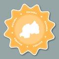 Rwanda map sticker in trendy colors.