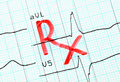 Rx inscription on cardiogram prescription Royalty Free Stock Photography