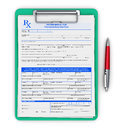 RX prescription pad and ballpoint pen Royalty Free Stock Photo