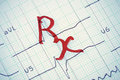 Rx sign on the ekg photo Royalty Free Stock Photography