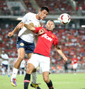 Ryan giggs of man utd bangkok july r fight for the ball during singha th anniversary cup manchester united vs singha all star at Royalty Free Stock Image