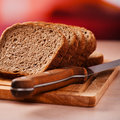 Rye bread on kitchen table Stock Image