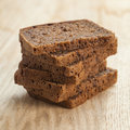 Rye bread slices on table Royalty Free Stock Photo