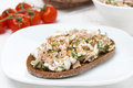 Rye bread with tuna and homemade cheese horizontal Stock Photo