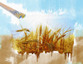 Rye field on a beautiful sunny sky background hand painting Royalty Free Stock Image