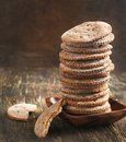 Rye flat bread on wooden background Royalty Free Stock Photography