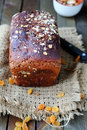 Rye loaf rustic bread on table food closeup Stock Photo