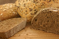 Rye and seeded breads in natural light Royalty Free Stock Photo