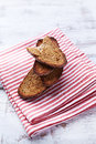 Rye toasts on a tea towl rustic kitchen towel Royalty Free Stock Photography