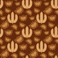 Rye wheat harvest vector seamless pattern butterfly background. Royalty Free Stock Photo