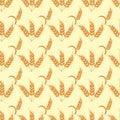 Rye wheat harvest vector seamless pattern. Royalty Free Stock Photo