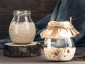 Rye and wheat sourdough starter Royalty Free Stock Photo