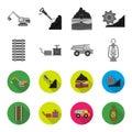 Ryllsy,vzryvchatka, dumper, lantern.Mine set collection icons in monochrome,flat style vector symbol stock illustration