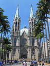 Sé square view of the and the cathedral são paulo brazil Royalty Free Stock Photos