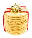 Słodcy ciastka wiążący z czerwonym faborkiem solated na białym tle Fotografia Royalty Free