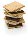 S'more campfire treat is a popular in the united states and canada a toasted marshmallow and a chocolate sandwiched between two Stock Image