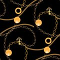 Abstract seamless pattern with golden chains,