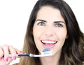 She s all about dental hygiene smiling young woman with healthy teeth holding a toothbrush Stock Photography