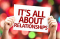 It's All About Relationships card with colorful background with defocused lights Royalty Free Stock Photo