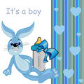 It's a baby boy card. cartoon cute bunny toy Royalty Free Stock Photos
