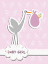 It s a baby girl stork with a baby vector illustration of birth concept on pink background Royalty Free Stock Photo