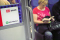 S bahn passengers in munich logo of the to the left with out of focus to the right Stock Photo