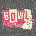 1950s Bowling Style Logo Design Royalty Free Stock Photo