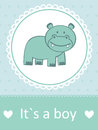 It s a boy baby arrival card with little hippo Royalty Free Stock Images