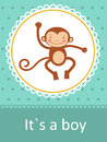 It s a boy baby arrival card with little monkey Royalty Free Stock Image