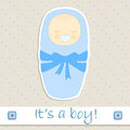 It s a boy the baby in sleeping bag in blue shades Royalty Free Stock Photo