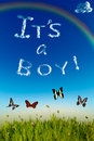 It s a boy greeting card printed with cloud letters over blue sky Stock Photo