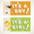 It`s a boy and  it`s a girl horizontal banners Royalty Free Stock Photos