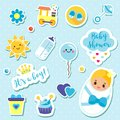It`s a boy stickers set in blue colors. Kids, children design elements for scrapbook. Decorative vector icons with newborn symbol Royalty Free Stock Photo