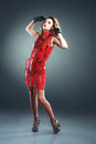 S fashion beautiful woman with elegant dress hairstyle from photo retro toning Stock Photo