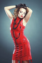 S fashion beautiful woman with elegant dress hairstyle from photo retro toning Royalty Free Stock Photos